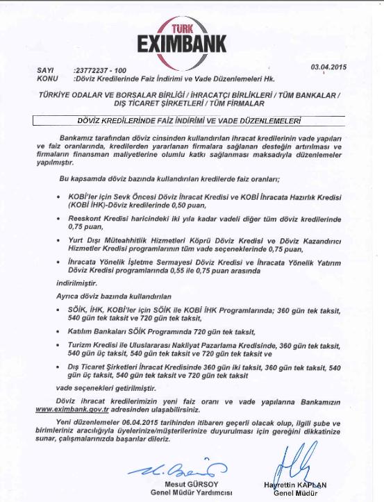 Türk EximBank Döviz Kredisi Duyurusu