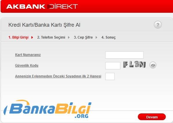 Akbank Kredi Kartı Şifresi Alma