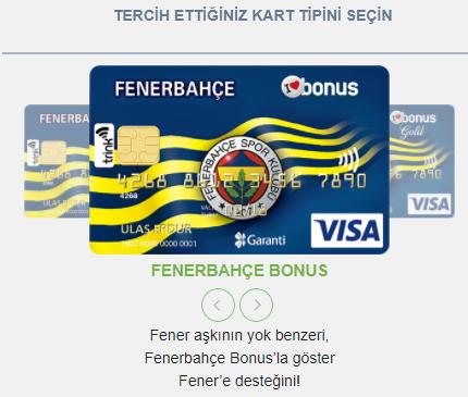 Garanti Bankası Fenerbahçe Bonus Kredi Kartları tipi